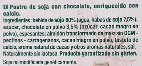 Postre vegetal de soja plaisir chocolate sin lactosa - Ingredients - es