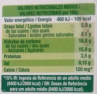Postre de soja Chocolate - Información nutricional