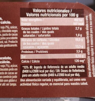 Postre vegetal de soja plaisir chocolate sin lactosa - Informations nutritionnelles - es