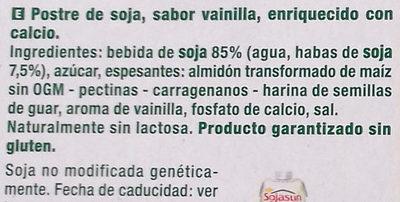 Dessert au soja saveur vanille - Ingrédients - es