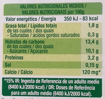 Dessert au soja saveur vanille - Informations nutritionnelles - es
