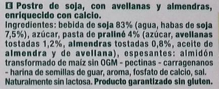 Postre praliné - Ingredients - es