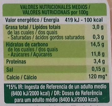 Postre Praliné - Información nutricional