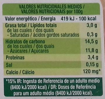 Postre praliné - Nutrition facts - es