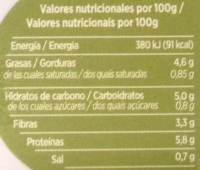 Untable Vegetal Aceitunas - Informació nutricional