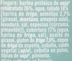 Fingers vegetales - Ingredients - es