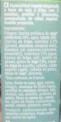 Fingers vegetales - Ingrédients