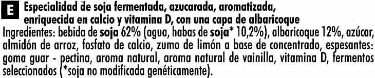 """Postre de soja """"Sojasun"""" Albaricoque Cremoso (2 Uds) - Ingredientes"""