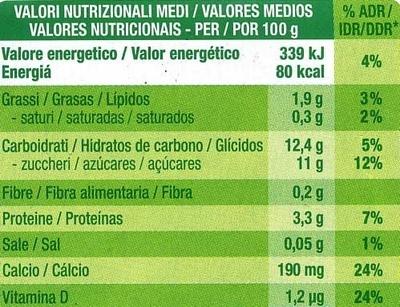 Postre de soja cremoso con frambuesa - Informations nutritionnelles - es