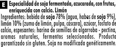 Postre de soja Limón - Ingredients