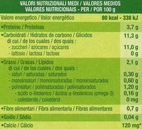 """Postre de soja """"Sojasun"""" frutas del bosque - Información nutricional"""