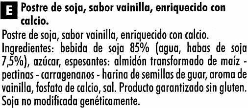 Postre de soja vainilla - Ingredientes