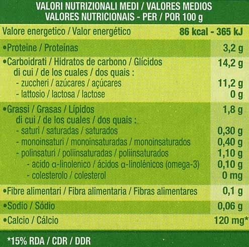Postre de soja vainilla - Información nutricional