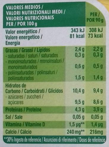 Petit Maxi Plátano - Información nutricional - es
