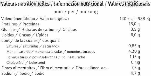 Hamburguesas vegetales Natural - Información nutricional - es
