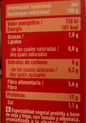 Hamburguesas vegetales de soja de tomate y alhabaca - Voedingswaarden - es