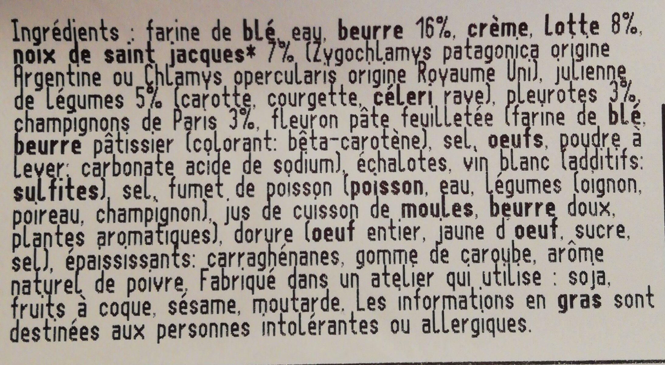 Bouchée lotte st jacque champignon - Ingredients - fr