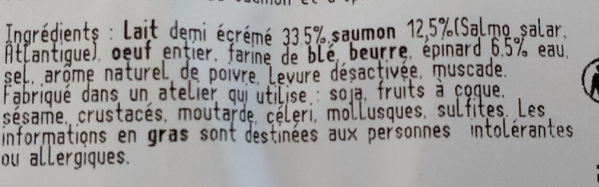 Quiche saumon - Ingrédients