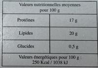 10 saveurs moelleux surgelés - Informations nutritionnelles