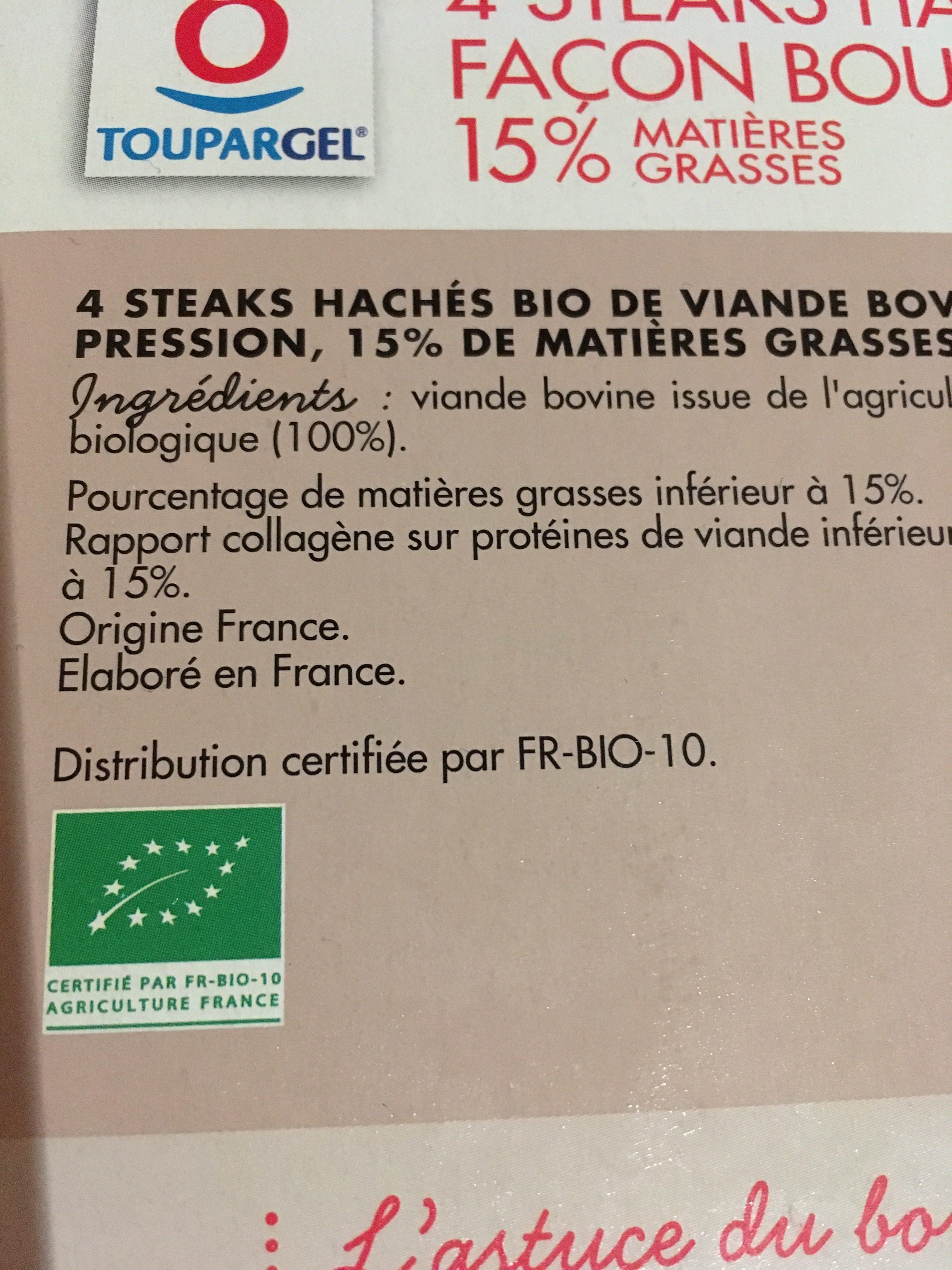 4 Steaks Hach?s Bio Surgel?s 15% 400g - Ingrediënten