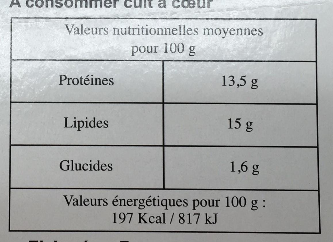10 burgers surgelés - Valori nutrizionali - fr