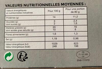 Burger Nature - Valori nutrizionali - fr