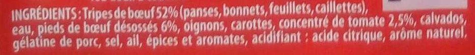 Tripes à la Tomate - Ingrédients - fr