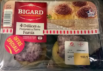 Délices de pomme de terre farcies, BIGARD, 4 pièces - Produit - fr
