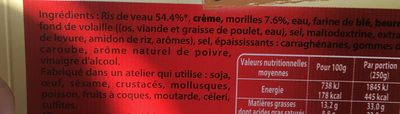 Ris de veau sauce aux morilles - Ingrédients - fr