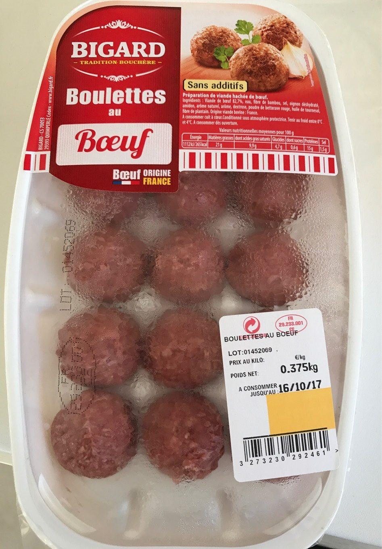 Boulettes au boeuf, BIGARD, 15 pièces, 375g, France - Produit