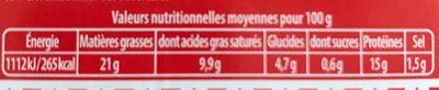 Boulettes au boeuf, BIGARD, 15 pièces, 375g, France - Informations nutritionnelles
