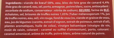Fondant de boeuf sauce foie gras et truffes Bigard - Ingrédients