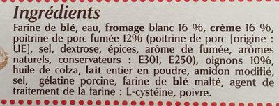 Kauffer's, Tartes flambees alsacienne flammekueche x6, creme, fromage blanc, oignons et lardons, garnies a la main, la - Ingredients