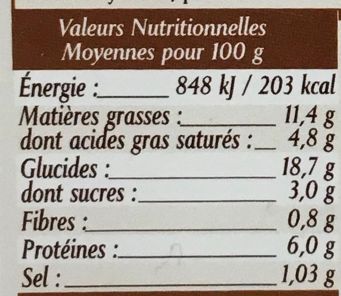 10 Flammekueches alsaciennes lardons oignons - Informations nutritionnelles - fr