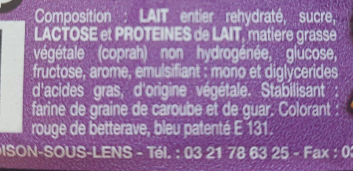 Spécialité glacée violette - Ingrediënten