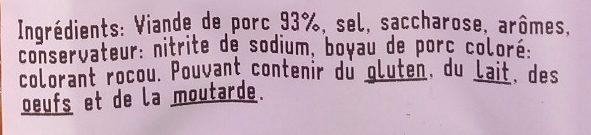 4 Saucisses Fumées - Ingrédients - fr