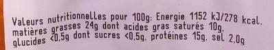 4 Saucisses Fumées - Informations nutritionnelles - fr