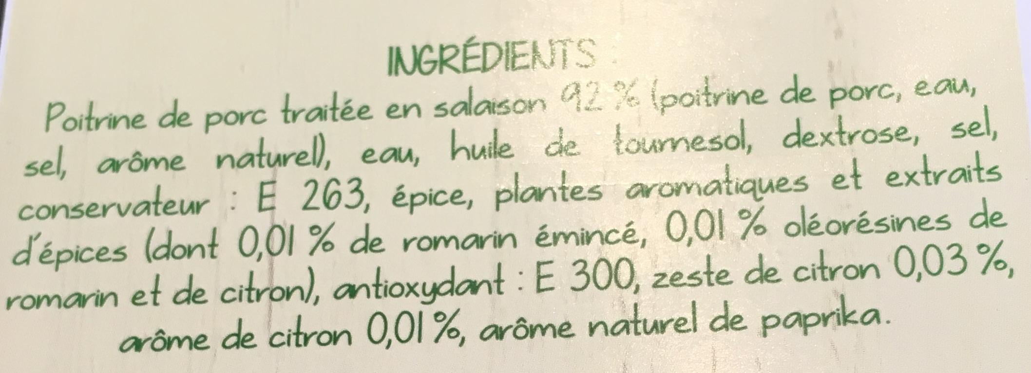 Tranches de Poitrine de Porc Romarin Citron - Ingrédients - fr