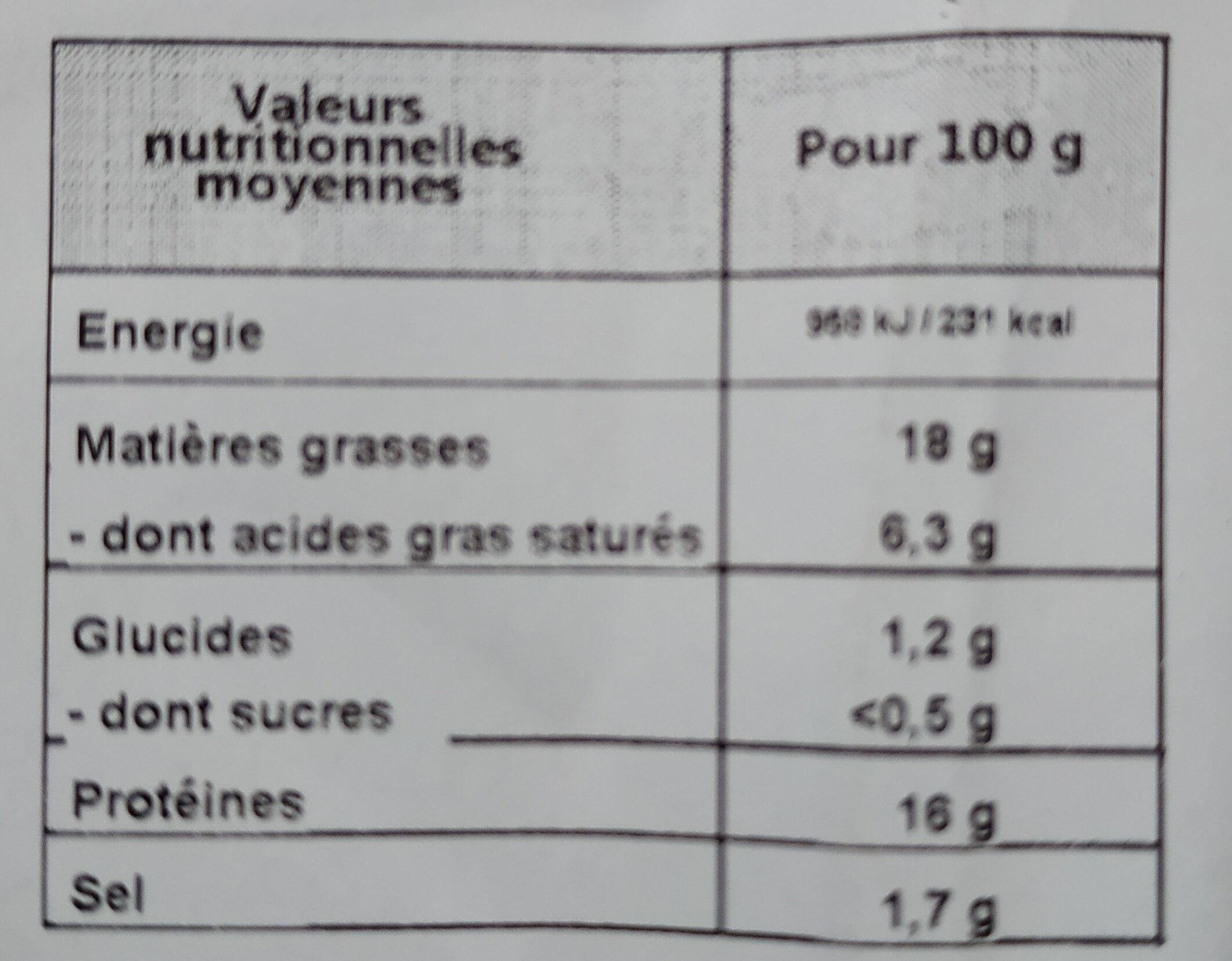 Chipolatas au sel de Guérande Label Rouge - Nährwertangaben - fr