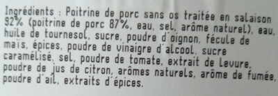 Tranches de poitrine à la texane - Ingredients