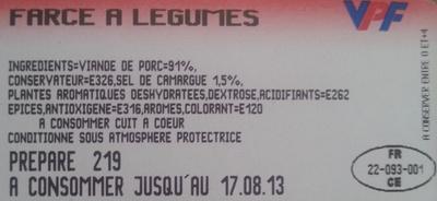 Farce à Légumes - Pur Porc - Ingrédients - fr