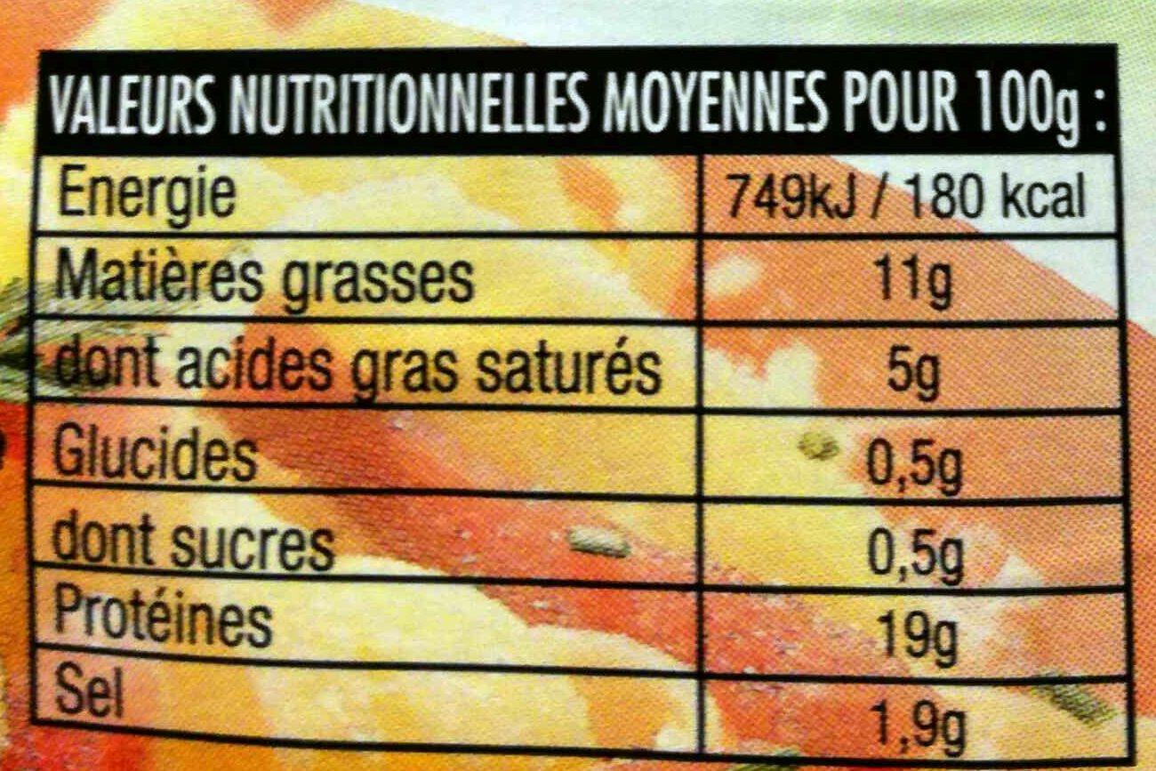 Les Darlons Fumés - Nutrition facts