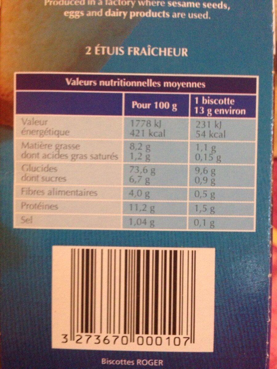 Biscottes Aixoises - Informations nutritionnelles - fr