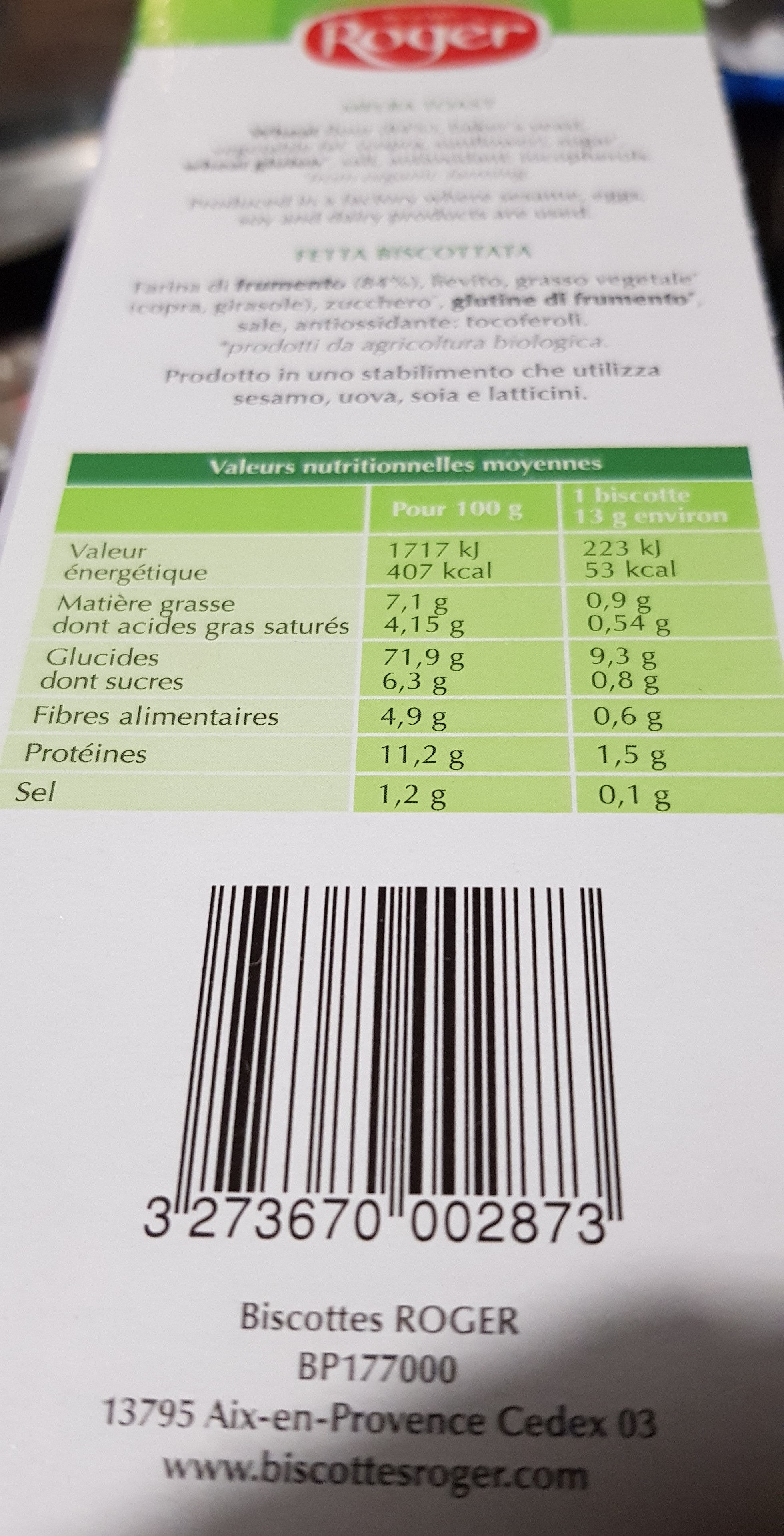 Biscotte Froment - Informations nutritionnelles