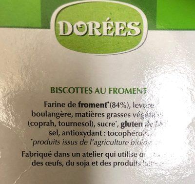 Biscotte bio - Ingrédients