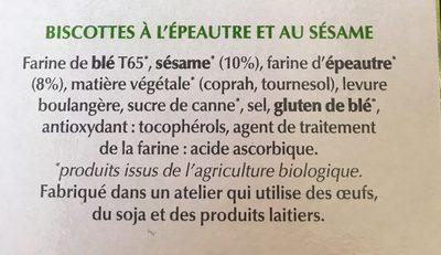 Biscotte bio dorée vegan - Ingrédients - fr