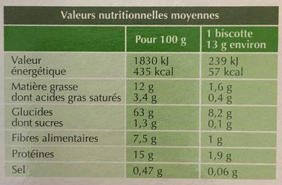 Biscotte bio dorée vegan - Informations nutritionnelles - fr