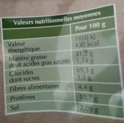 Le Toast apero - Nutrition facts - fr
