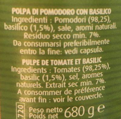 Pulpe De Tomates Au Basilic - Ingrediënten - fr