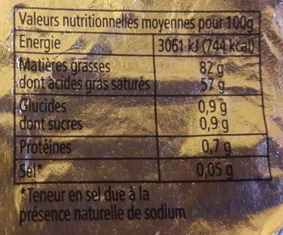 Beurre Doux Plaquette - Voedingswaarden - fr